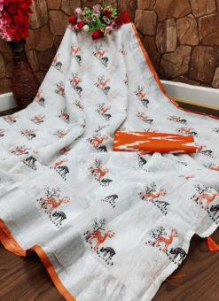 Opulent Orange Semi Linen Hand Printed Designer Saree