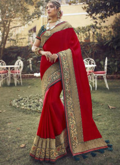 Amazing Red Tusser Silk Zari Weaving Wedding Saree