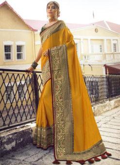 Classic Yellow Tusser Silk Zari Weaving Wedding Saree