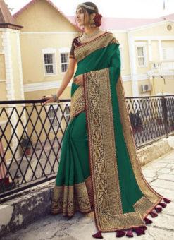Graceful Green Tusser Silk Zari Weaving Wedding Saree