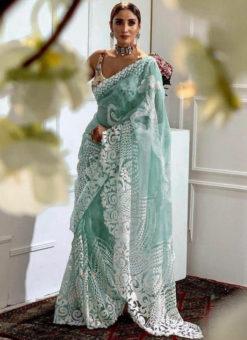 Beautiful Sea Green Heavy Pure Organza Embroidered Work Designer Saree