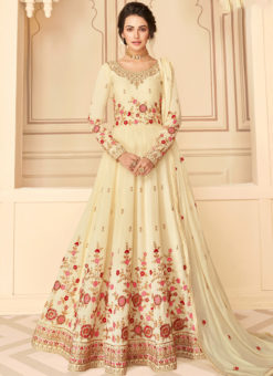 Lovely Off White Silk Embroidered Work Designer Anarkali Suit
