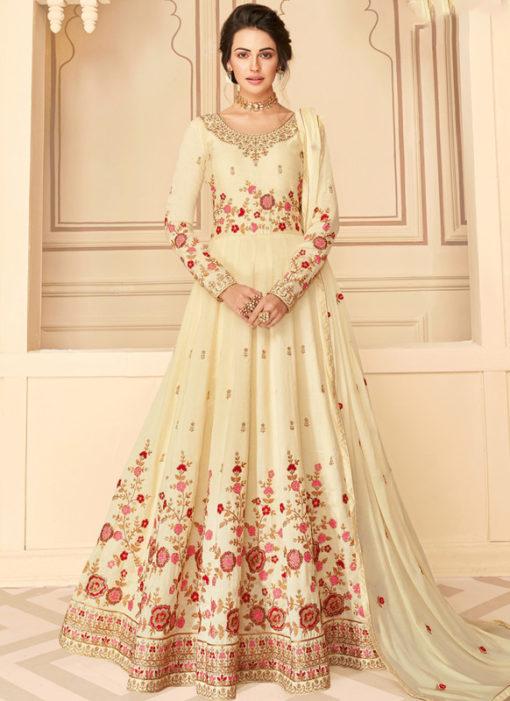 Lovely Off White Silk Embroidered Work Designer Anarkali Suit