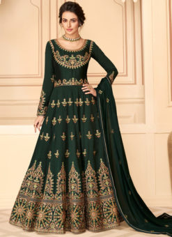 Elegant Green Silk Embroidered Work Designer Anarkali Suit