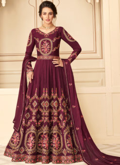 Wonderful Magenta Silk Embroidered Work Designer Anarkali Suit