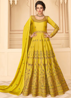 Lavish Yellow Silk Embroidered Work Designer Anarkali Suit