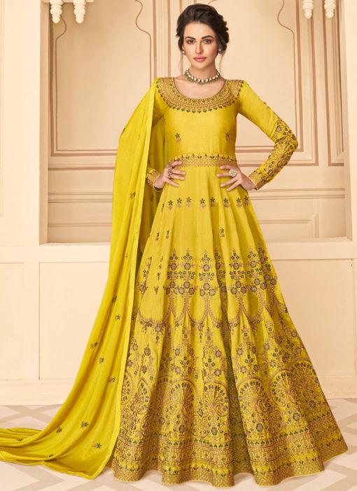 Lavish Yellow Silk Embroidered Work Designer Anarkali Suit