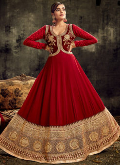 Lovely Maroon Georgette Embroidered Work Reception Designer Anarkali Suit
