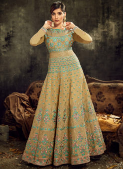 Wonderful Cream Silk Embroidered Work Reception Designer Anarkali Suit