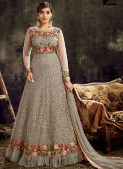 Amazing Grey Net Embroidered Work Reception Desinger Anarkali Suit