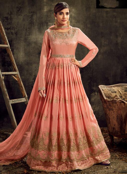 Elegant Pink Silk Embroidered Work Reception Designer Anarkali Suit