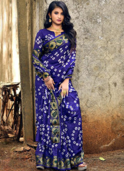 Beautiful Blue Art Silk Bandhani Print Traditional Saree