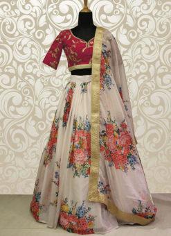 Wedding Designer White Raw Silk Lehenga Choli