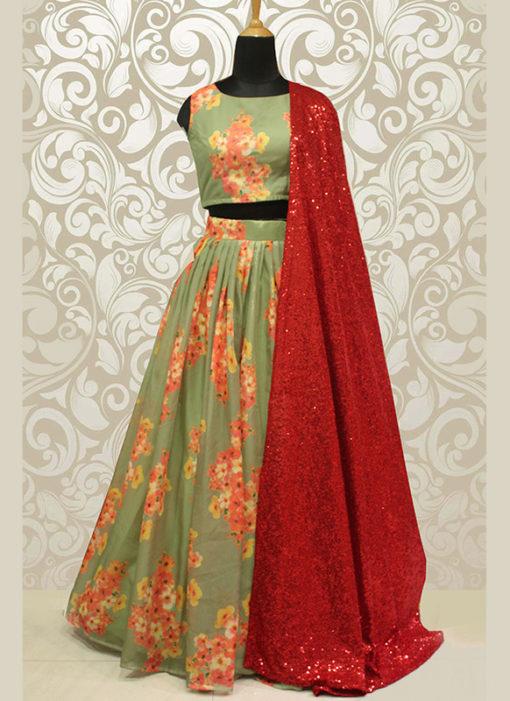 Wedding Designer Green Pure Organza Lehenga Choli