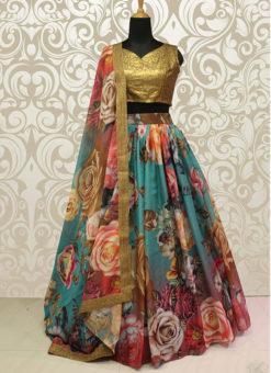 Wedding Designer Multi Pure Organza Lehenga Choli