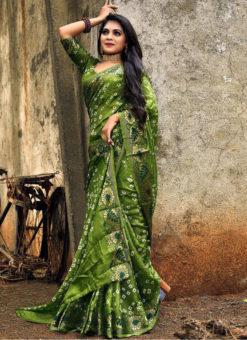 Graceful Green Art Silk Bandhani Print Traditional Saree