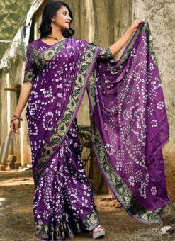 Classic Lavender Art Silk Bandhani Print Traditional Saree