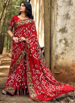Lovely Maroon Art Silk Bandhani Print Traditional Saree