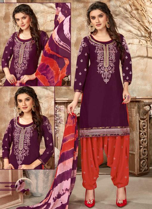 Regular Designer Embroidery Purple Glaze Cotton Patiyala Suit