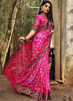 Elegant Pink Art Silk Bandhani Print Traditional Saree