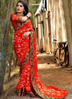 Amazing Red Art Silk Bandhani Print Traditional Saree