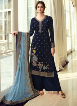 Party Wear Blue Zari Work Viscose Designer Salwar Suit