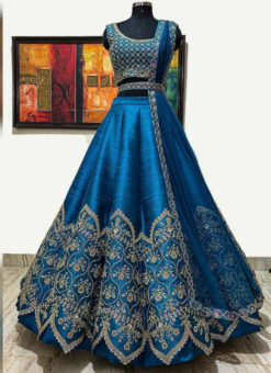 Banglory Satin Embroidery Work Designer Party Wear Lehenga Choli