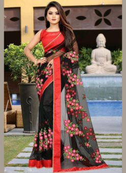Black Net Embroidered Work Designer Saree