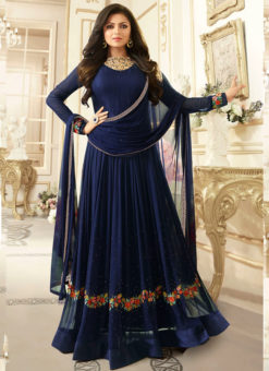 Lovely Blue Georgette Stone Work Party Wear Designer Anarkali Suit