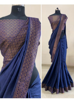 Royale Blue Dola Silk Zari Border Party Wear Saree