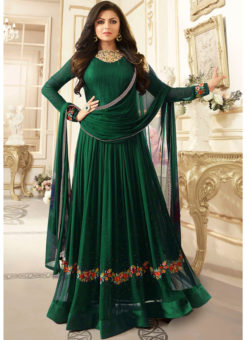 Excellent Green Georgette Stone Work Party Wear Designer Anarkali Suit