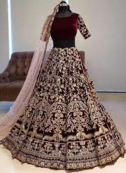 Elegant Maroon Banglory Satin Embroidered Work Bridal Lehenga Choli
