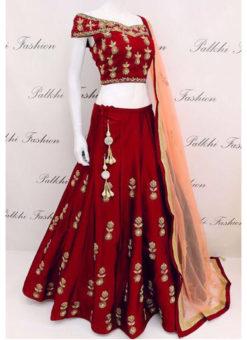 Tapeta Silk Maroon With Codding Embroidery Work Designer Lehenga Choli
