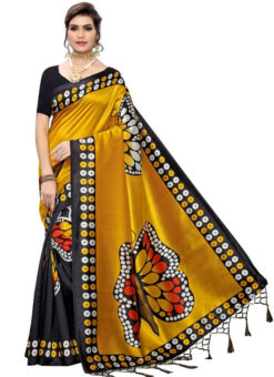 Mustard Silk Printed Fancy Jhalar Designer Saree