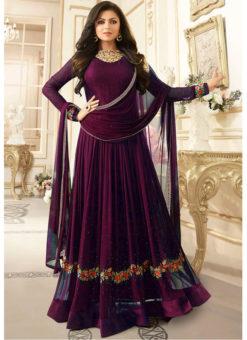 Fantastic Purple Georgette Stone Work Party Wear Designer Anarkali Suit