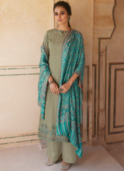 Beige Jam Cotton Printed And Embroidered Designer Salwar Kameez