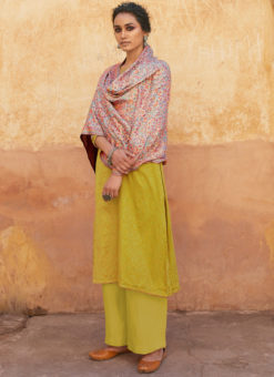 Yellow Jam Cotton Printed Party Wear Salwar Kameez