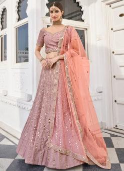Attractive Rose Pink Silk Designer Mirror Work Wedding Wear Lehenga Choli