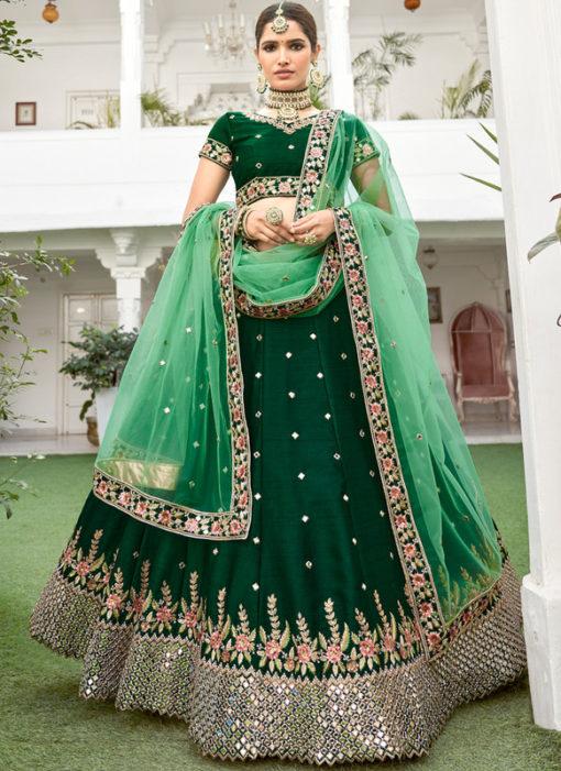 Elegant Green Heavy Silk Designer Mirror Work Wedding Wear Lehenga Choli