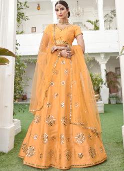 Amazing Yellow Mirror Work Silk Designer Wedding Lehenga Choli