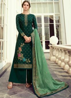 Green Party Wear Zari Work Designer Viscose Salwar Suit