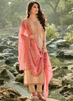 Amazing Beige Chanderi Embroidered Work Designer Silk Salwar Suit