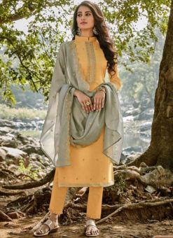 Classic Orange Embroidered Work Designer Chanderi Silk Salwar Suit