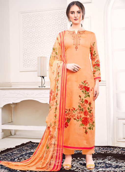 Orange Jam Satin Embroidered And Printed Party Wear Salwar Suit