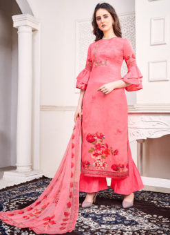 Pink Jam Satin Embroidered And Printed Party Wear Salwar Suit