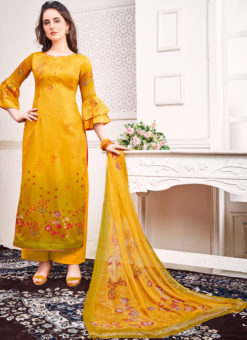 Yellow Jam Satin Embroidered And Printed Party Wear Salwar Suit