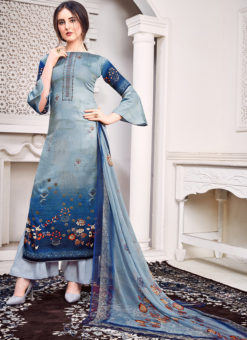 Blue Jam Satin Embroidered And Printed Party Wear Salwar Suit