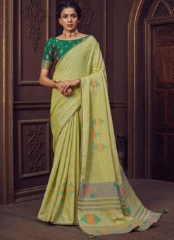 Lemon Yellow Printed Linen Casual Wear Saree
