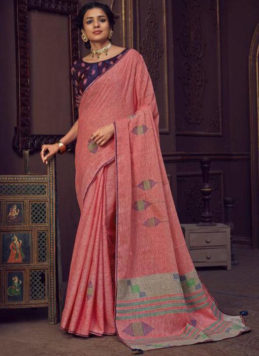 Linen Printed Pink Casual Wear Saree