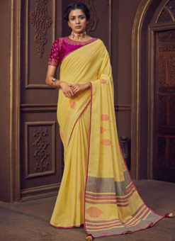 Printed Yellow Linen Casual Wear Saree